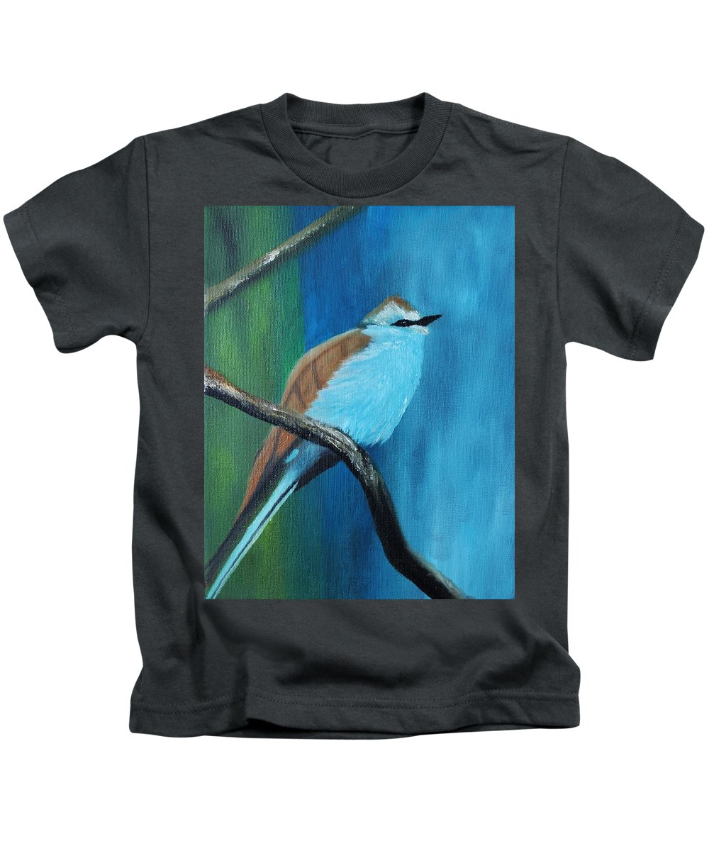 Bird Kids T-Shirt featuring the painting Feathered Friends Second In Series by Julie Lourenco