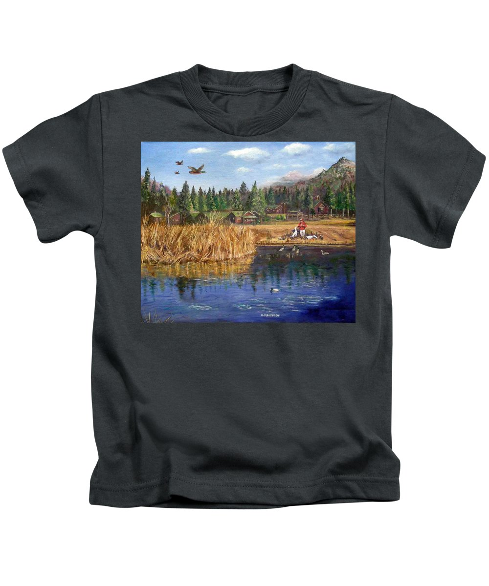 Landscape Kids T-Shirt featuring the painting Feeding The Ducks by Olga Kaczmar