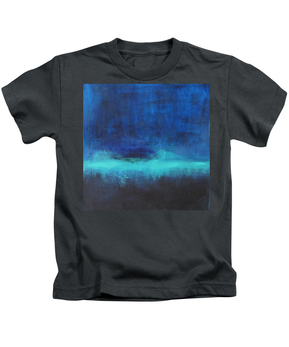 Abstract Painting Kids T-Shirt featuring the painting Feeling Blue by Nicole Nadeau
