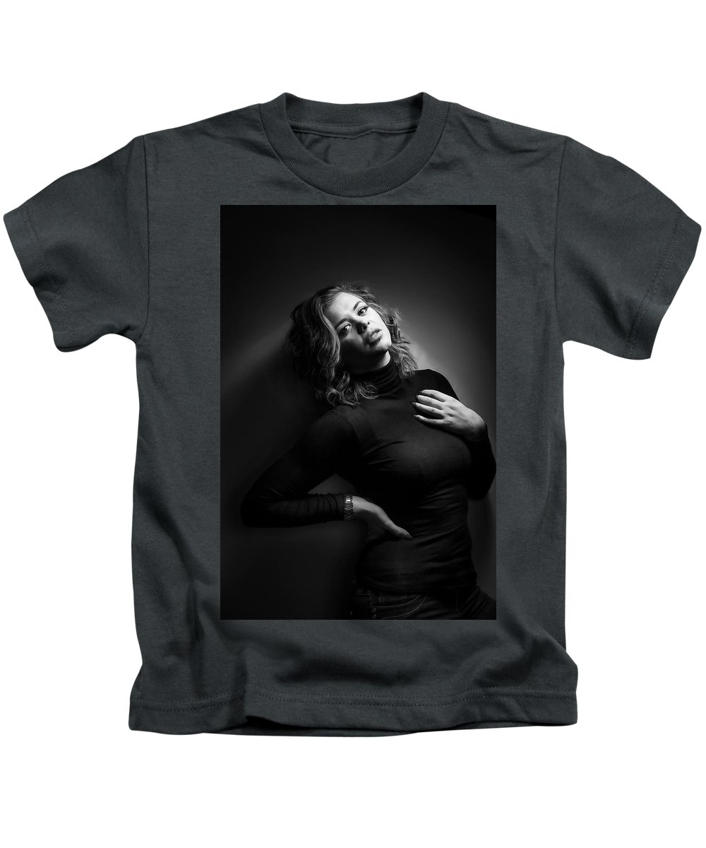 Model Kids T-Shirt featuring the photograph Female Model by Samuel Whitton