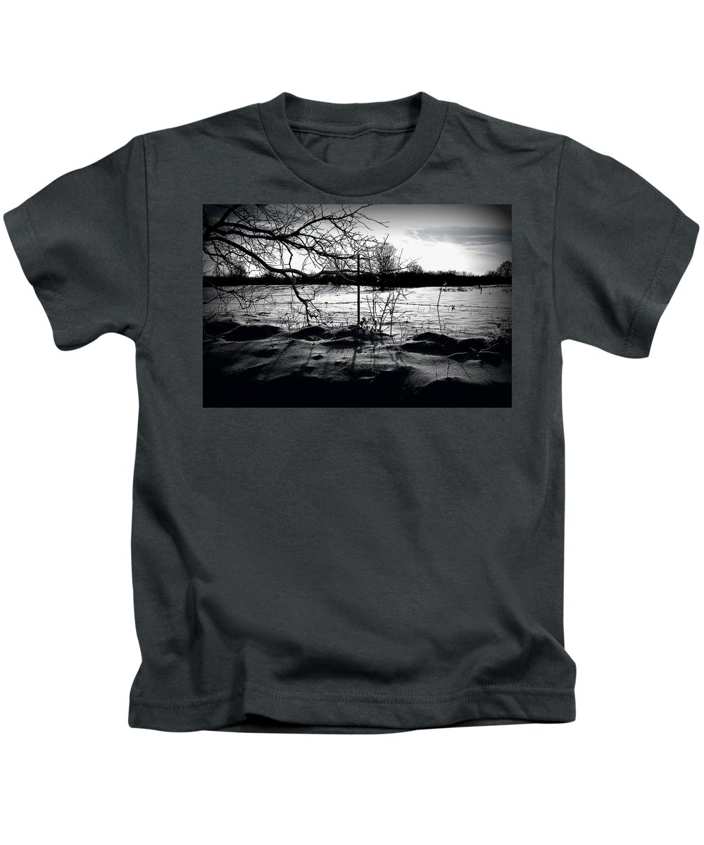 Black And White Kids T-Shirt featuring the photograph Fenced In by Brad Lindsey
