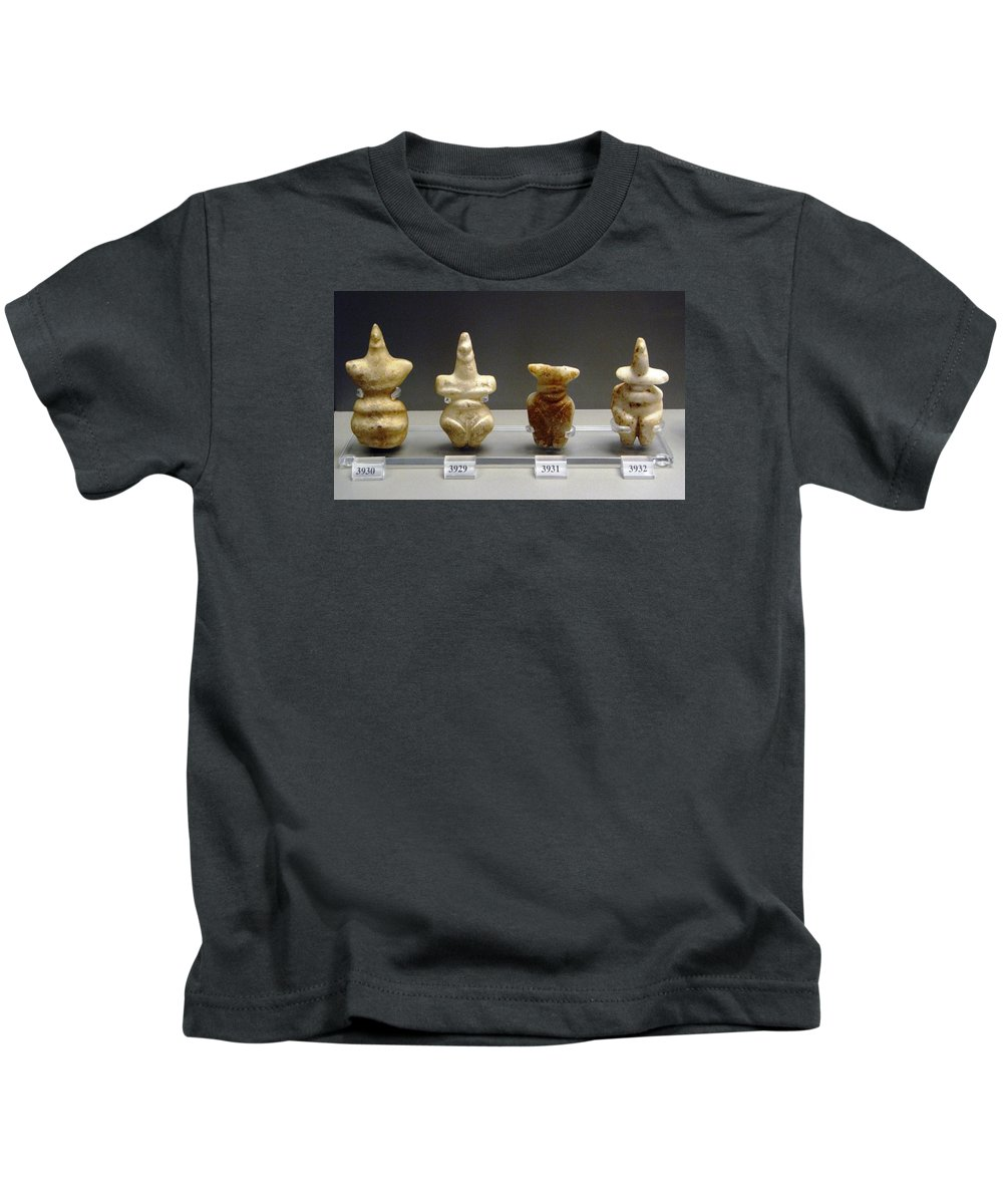 Neolithic Figurine Kids T-Shirt featuring the photograph Fertility Goddesses by Andonis Katanos