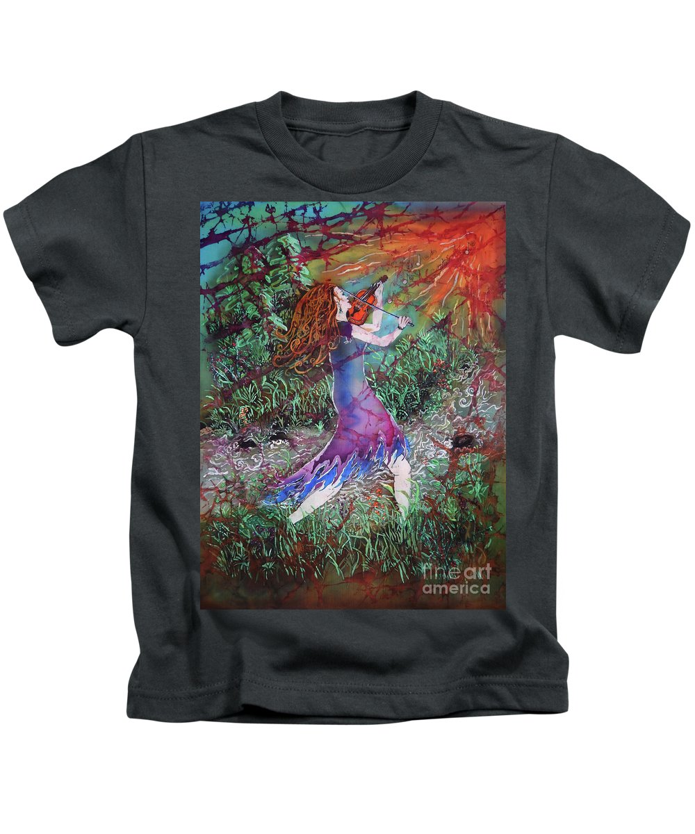 Fiddler Kids T-Shirt featuring the tapestry - textile Fiddler Of The Forest 3 by Sue Duda