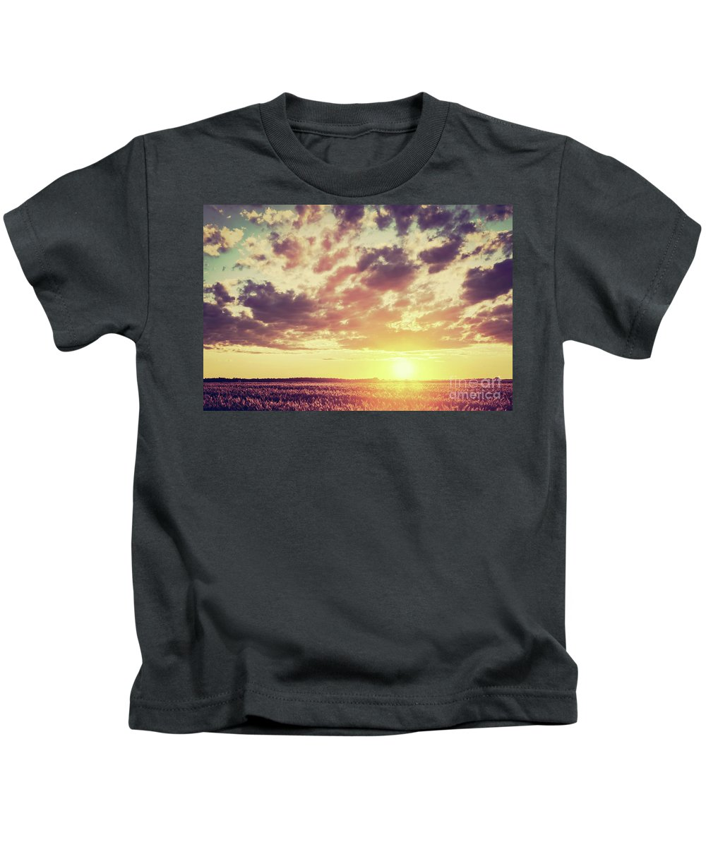 Field Kids T-Shirt featuring the photograph Field, Countryside At Sunset. Harvest Time. Vintage by Michal Bednarek