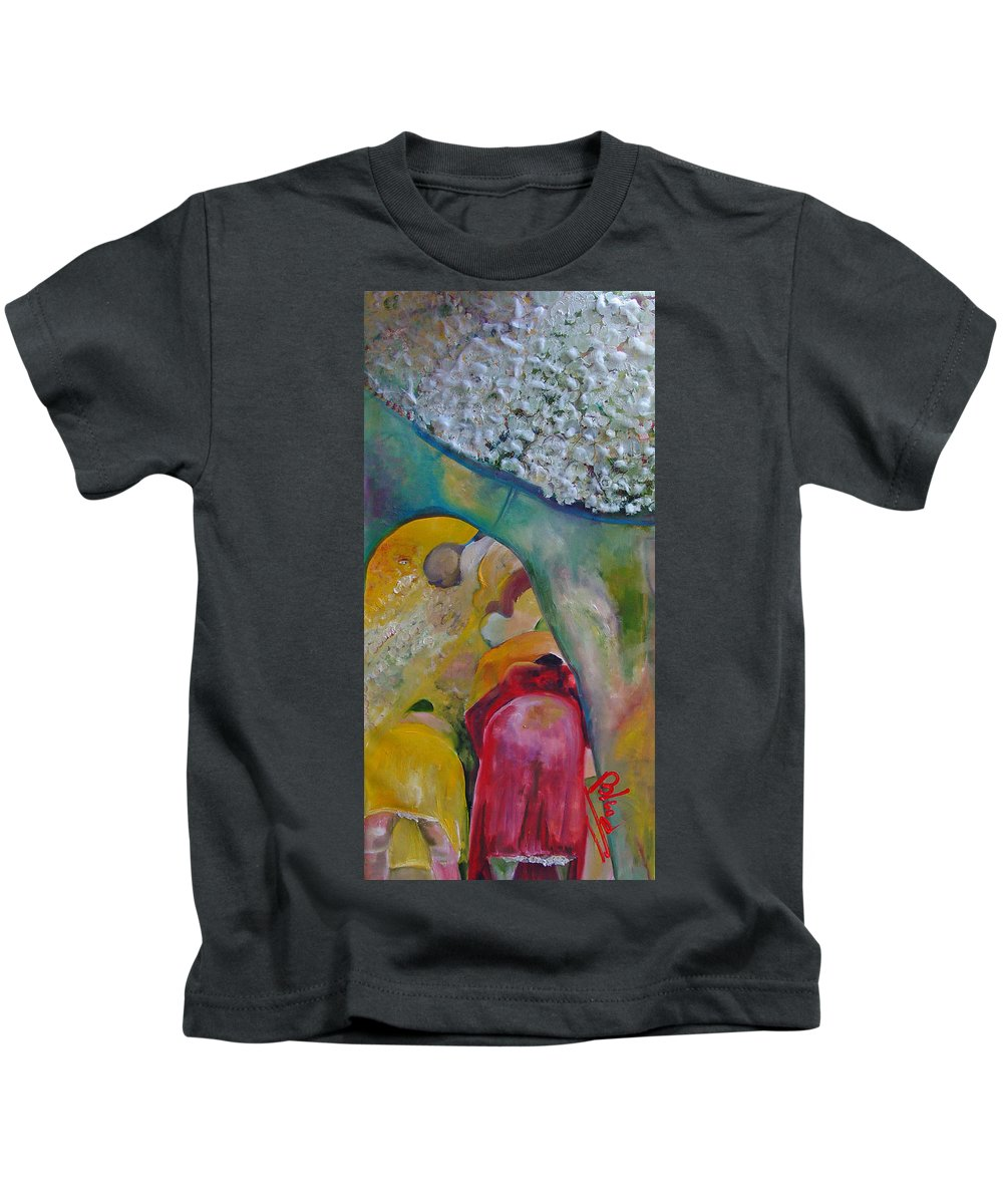 Cotton Kids T-Shirt featuring the painting Fields Of Cotton by Peggy Blood