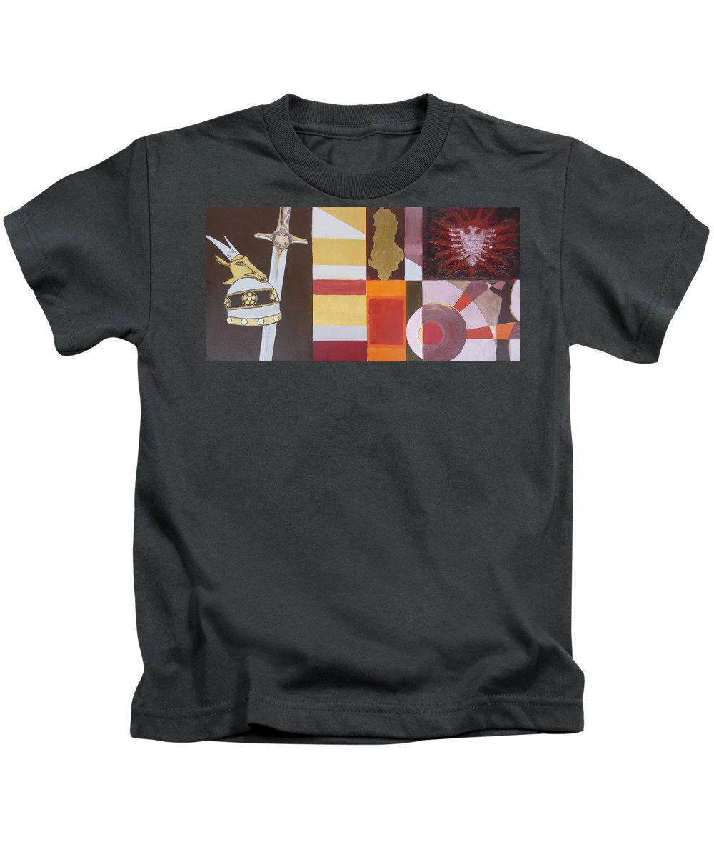 Oil Kids T-Shirt featuring the painting Figurativ Albanian Simbols by Alban Dizdari