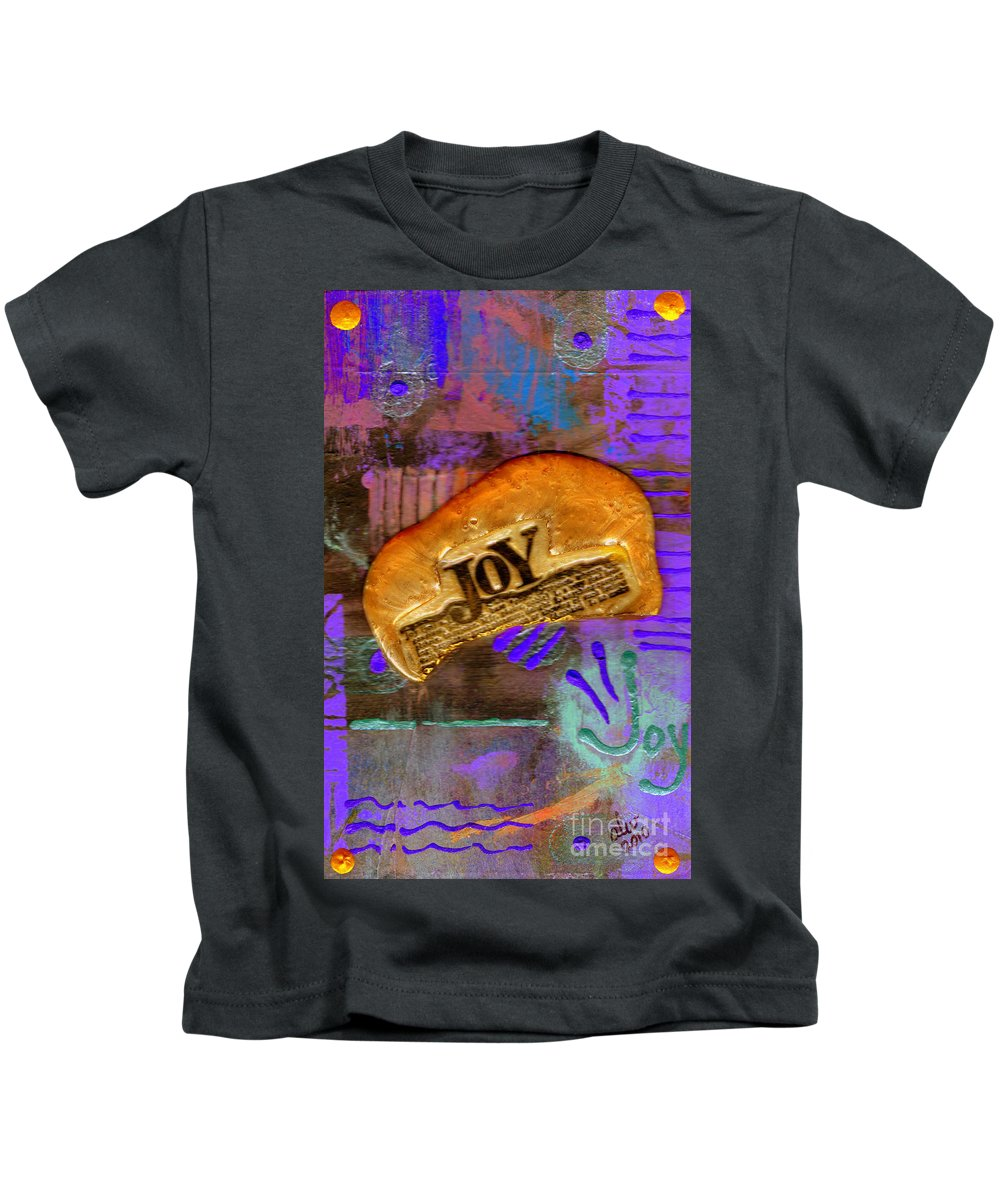 Woman Kids T-Shirt featuring the mixed media Find Your Joy by Angela L Walker