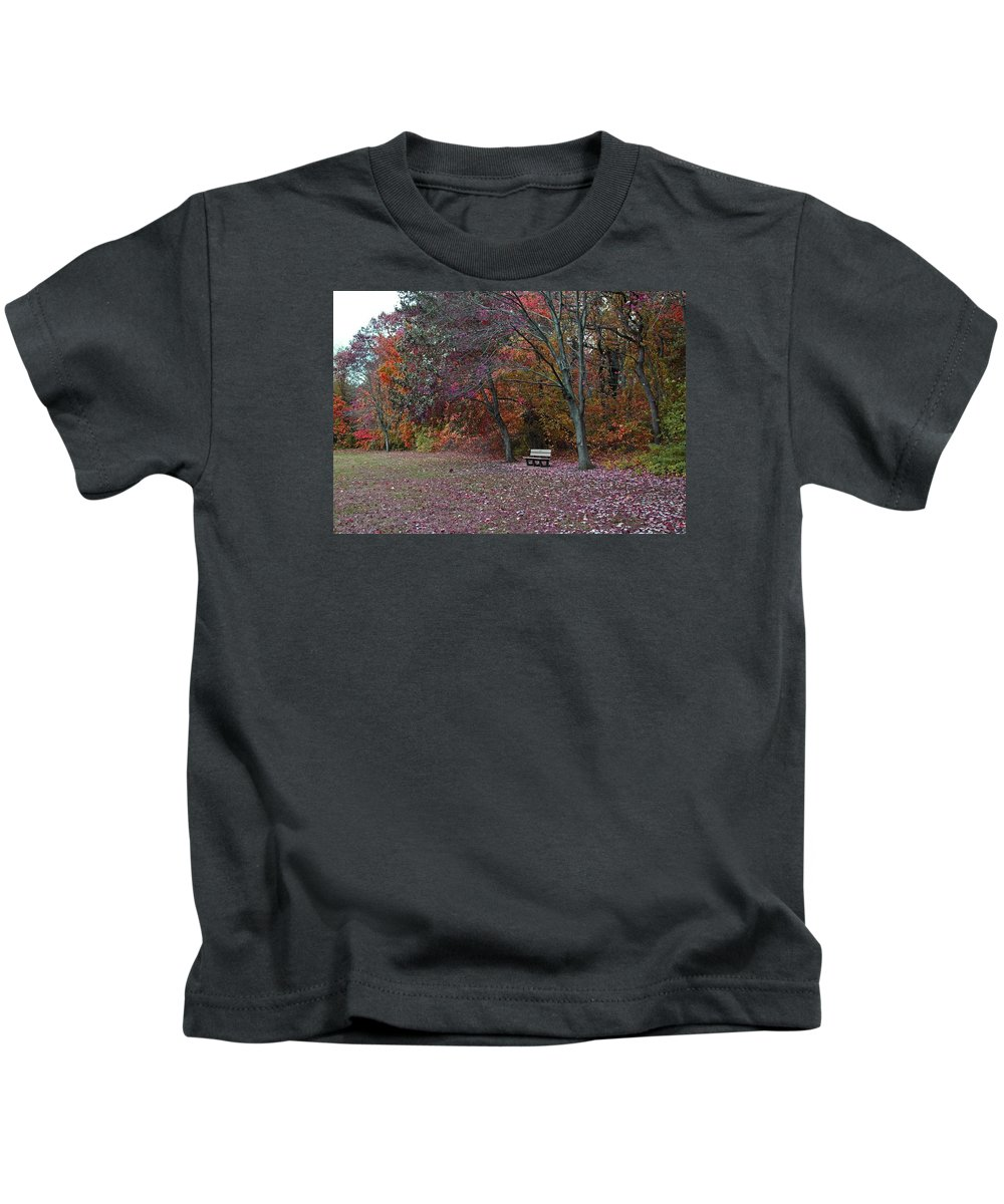 Bench Kids T-Shirt featuring the photograph Finding Inner Peace by Michiale Schneider