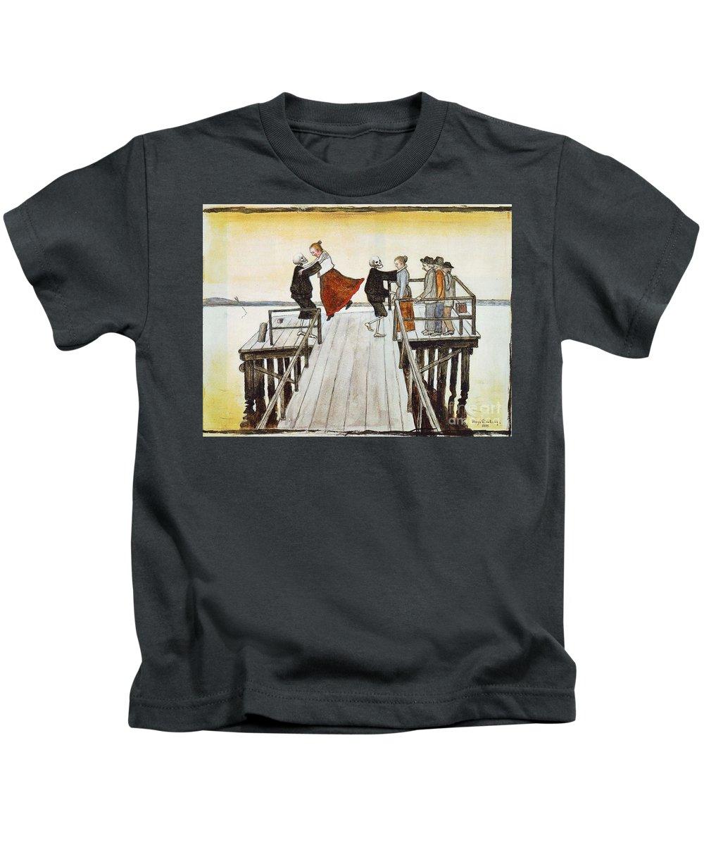 Hugo Gerhard Simberg Kids T-Shirt featuring the painting Finnish Symbolist Painter by MotionAge Designs