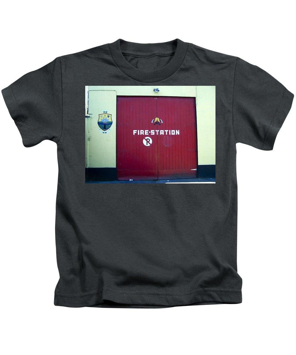 Irish Kids T-Shirt featuring the photograph Fire Door In Macroom Ireland by Teresa Mucha
