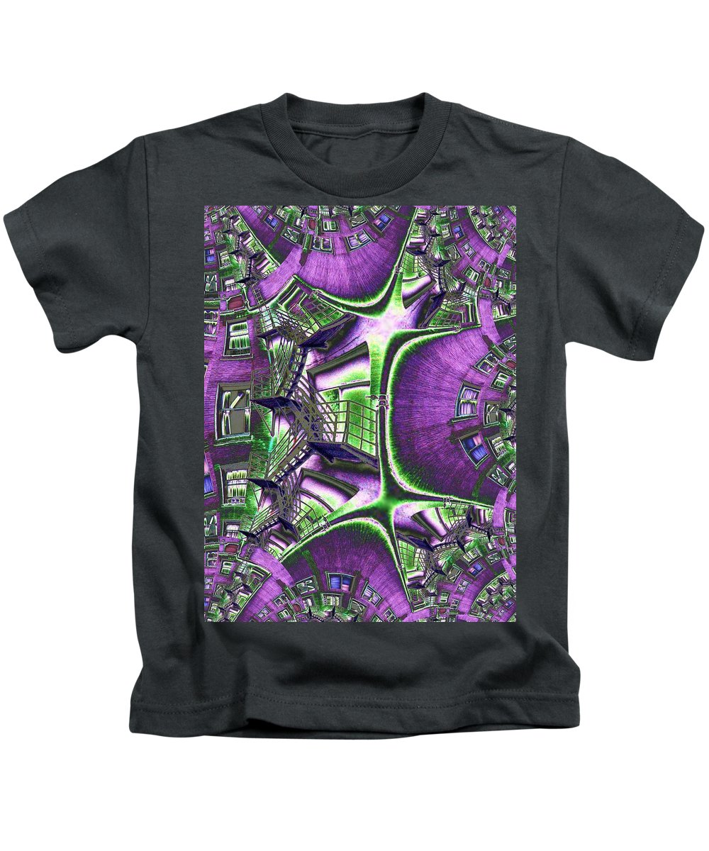 Fire Escape Kids T-Shirt featuring the photograph Fire Escape Fractal by Tim Allen