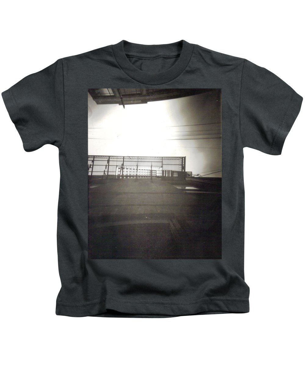 Black And White Photograph Kids T-Shirt featuring the photograph Fire Escape by Thomas Valentine