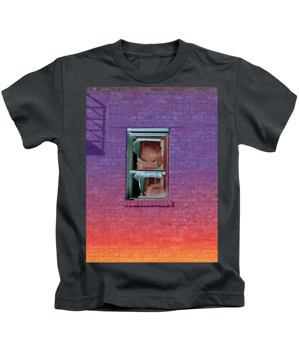 Architecture Kids T-Shirt featuring the photograph Fire Escape Window 2 by Tim Allen