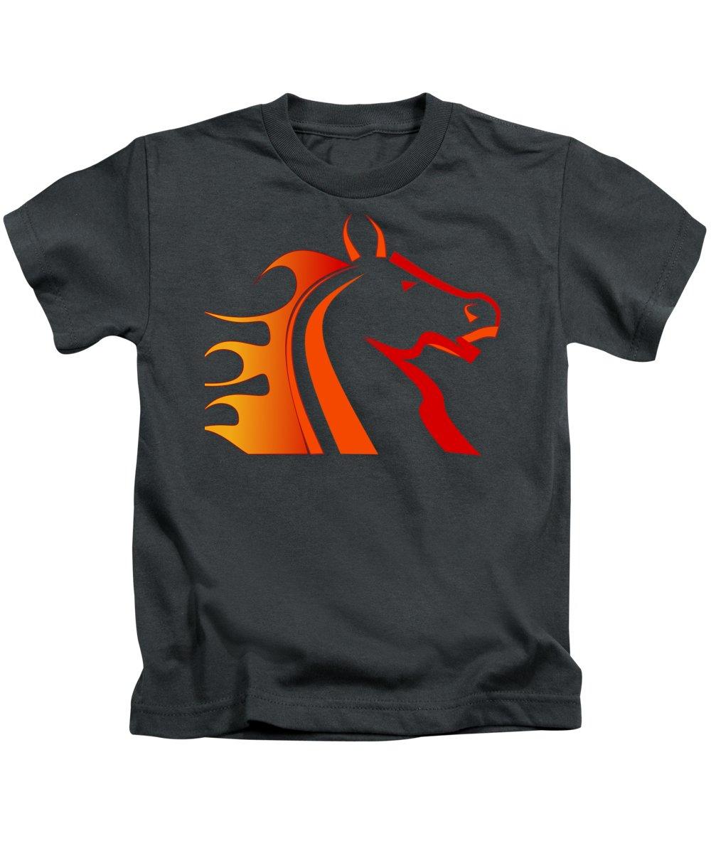 Horse Kids T-Shirt featuring the digital art Fire Horse by Scott Davis