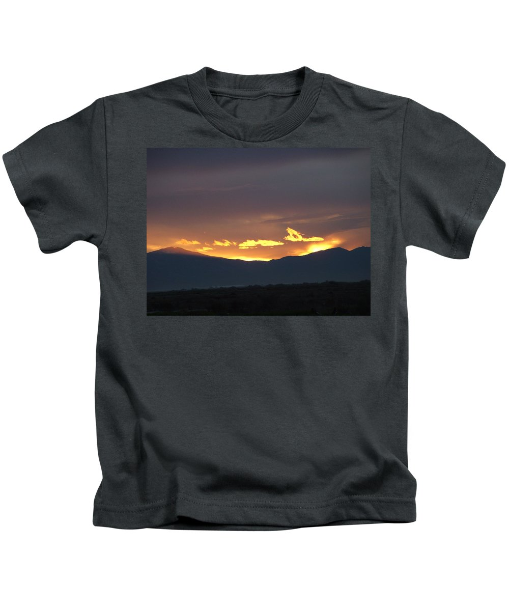 Sunset Kids T-Shirt featuring the photograph Fire In The Sky by Shari Chavira