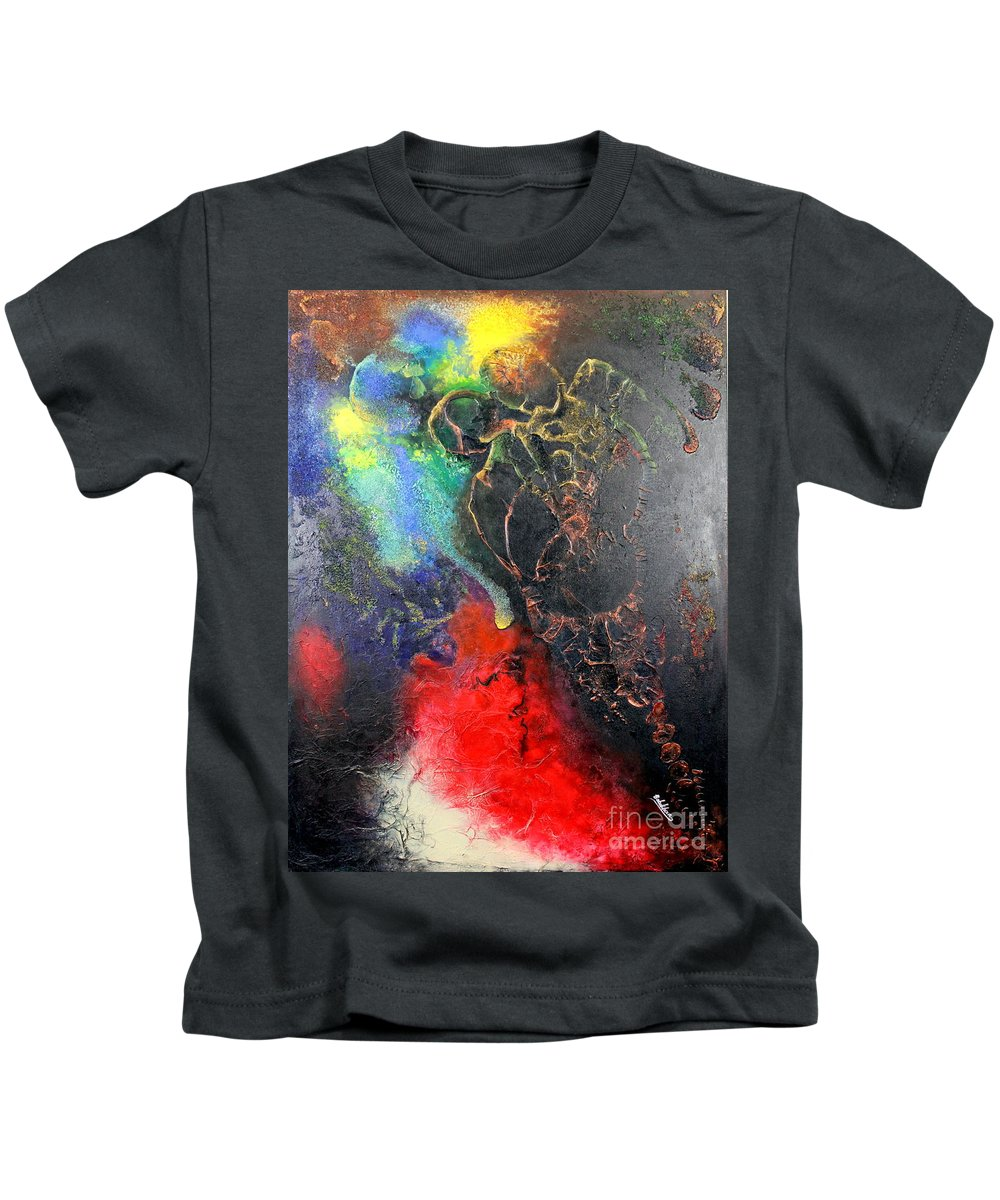 Valentine Kids T-Shirt featuring the painting Fire Of Passion by Farzali Babekhan