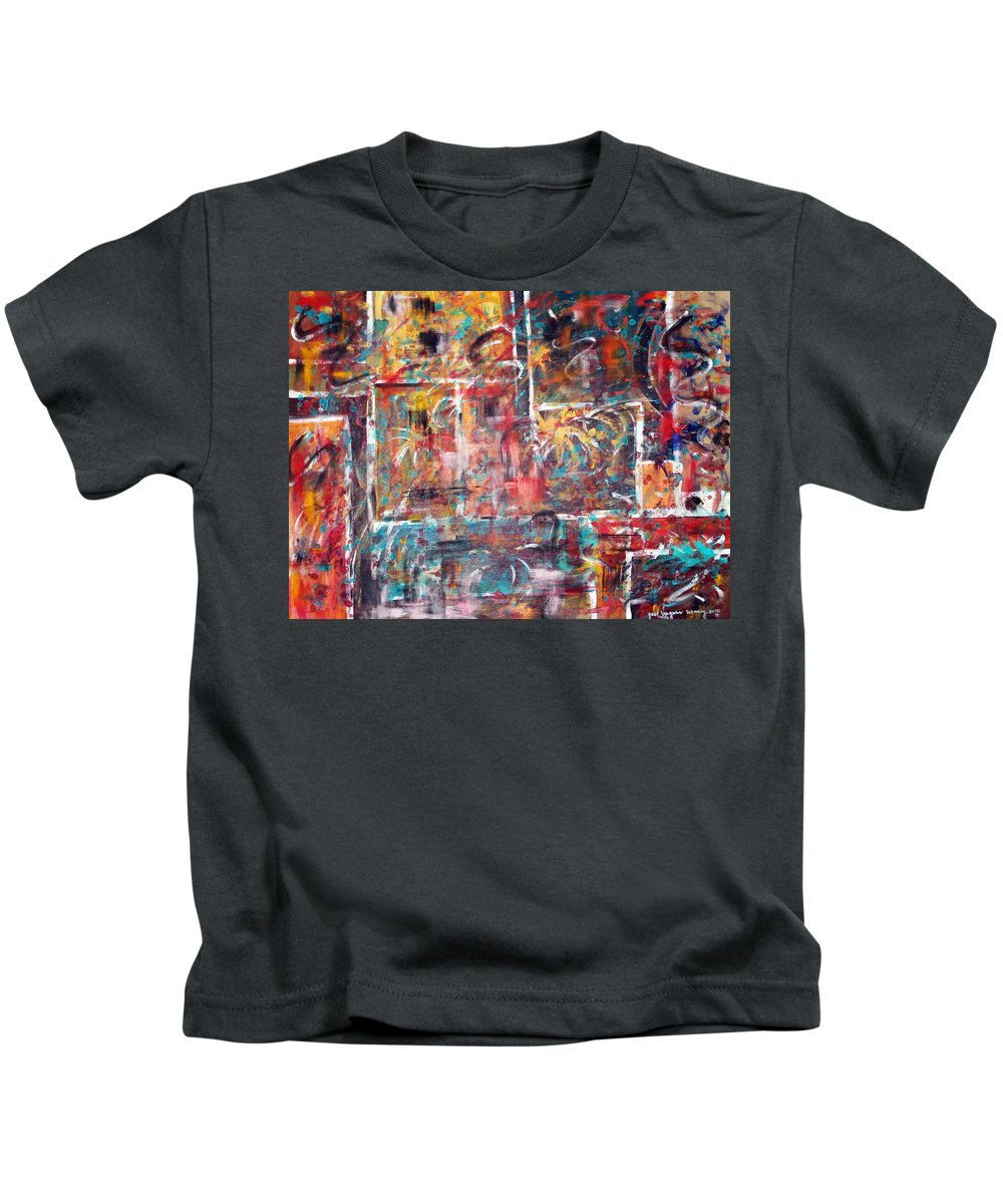 Acrylic Panting Kids T-Shirt featuring the painting Fire Works by Yael VanGruber