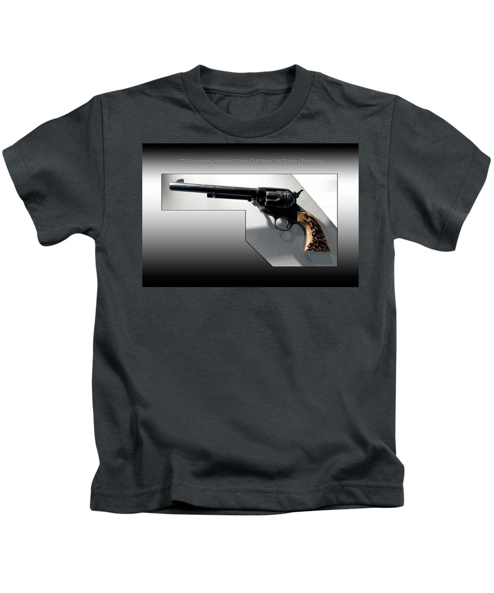 Revolver Kids T-Shirt featuring the photograph Firearms Tv Gunsmoke Marshall Dillon Colt Model 1873 Army Revolver by Thomas Woolworth