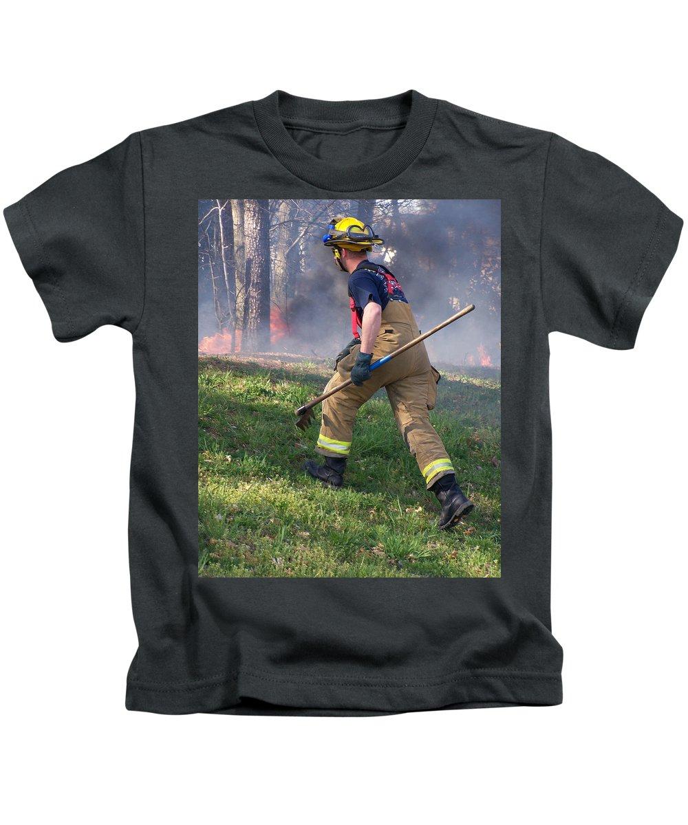 Fire Kids T-Shirt featuring the photograph Firefighter 2901 by Francesa Miller