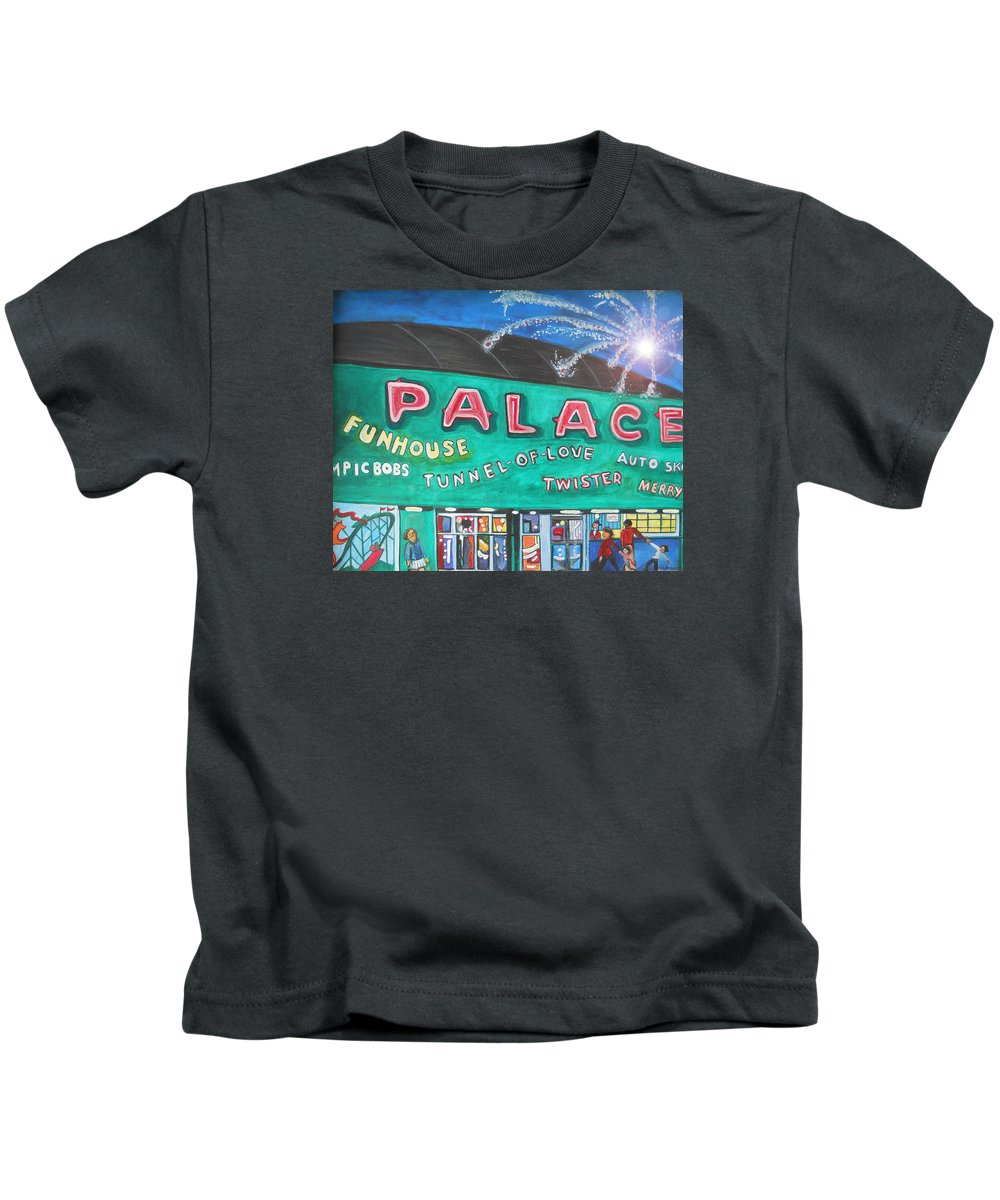 Asbury Park Art Kids T-Shirt featuring the painting Fireworks At The Palace by Patricia Arroyo