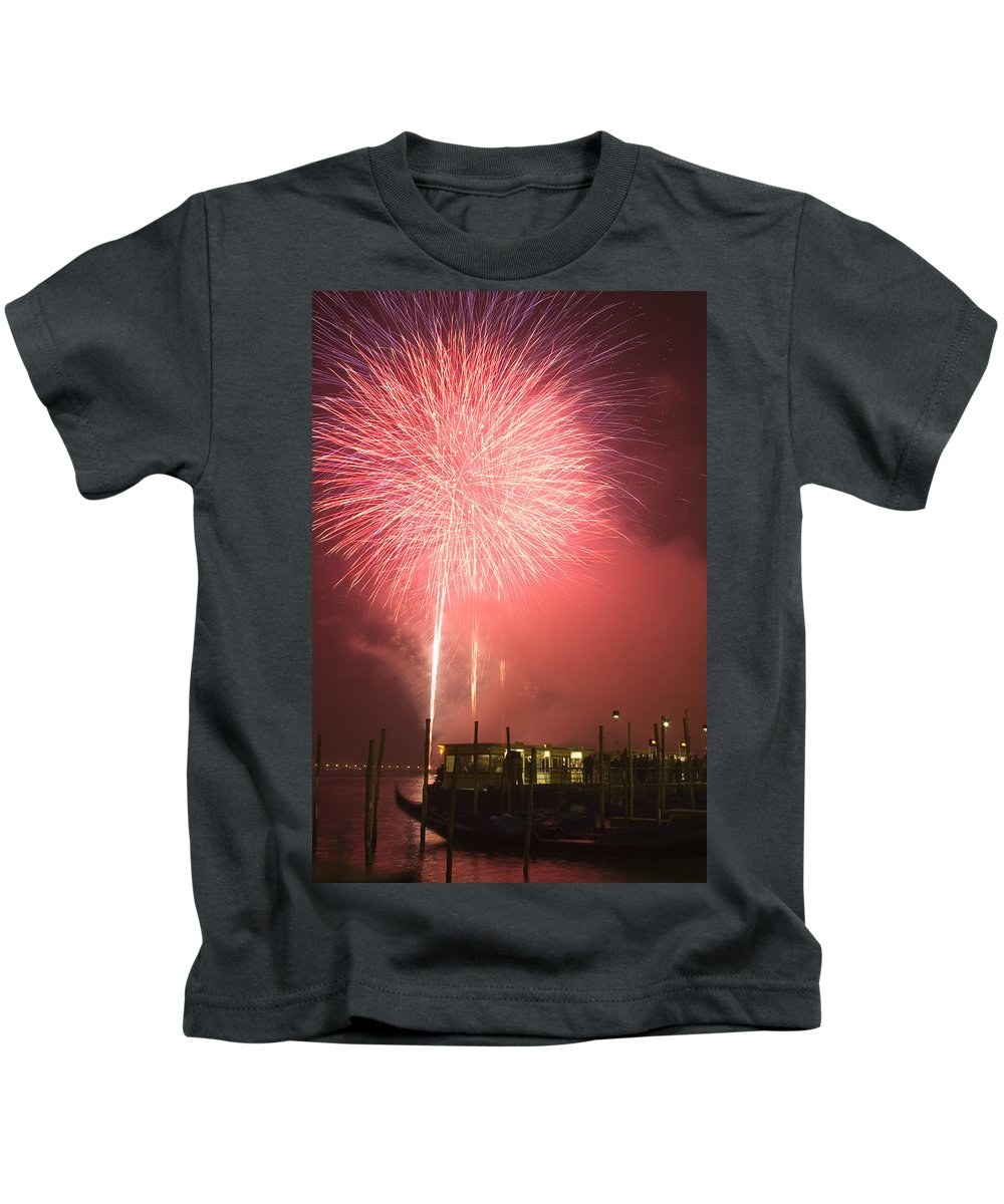 Fireworks Kids T-Shirt featuring the photograph Fireworks In Venice by Ian Middleton