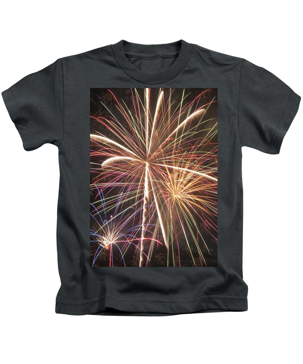 Fireworks Kids T-Shirt featuring the photograph Fireworks by Steven Natanson