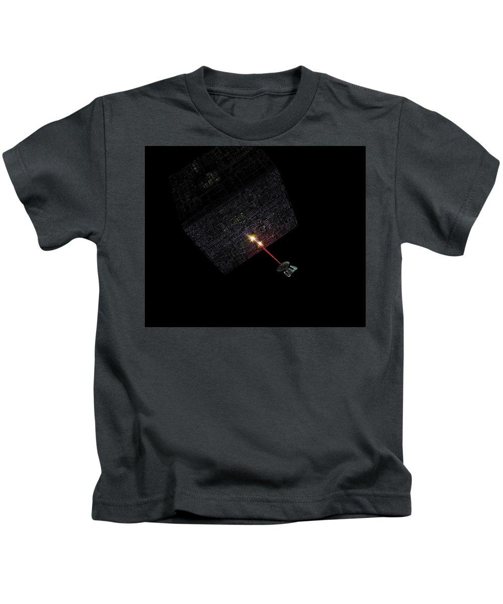Star Trek Next Generation Borg Contact Assimilate Resistance Is Futile Enterprise Ship Phasers Kids T-Shirt featuring the digital art First Contact by Skipper Elliott Memmott