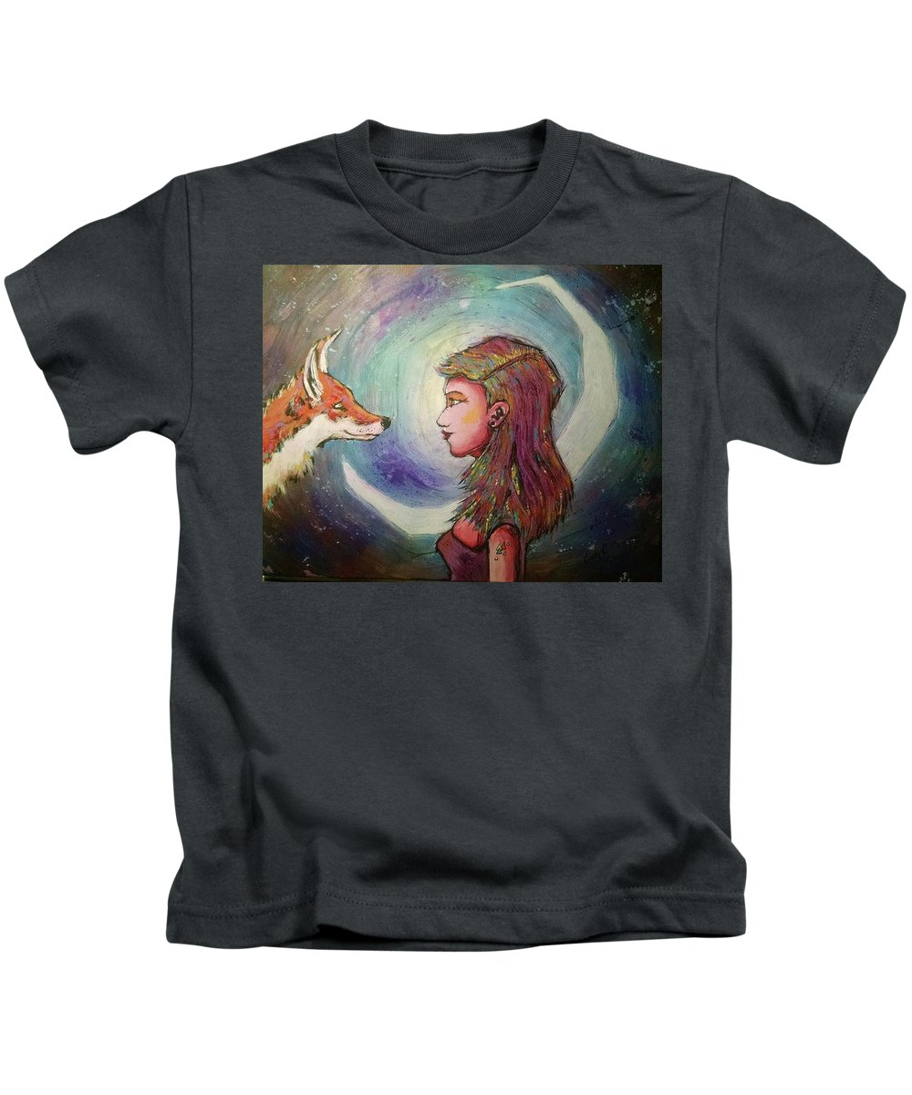 Fox Kids T-Shirt featuring the painting First Meeting by Cindy Carter