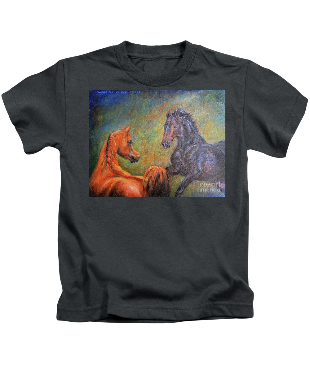 First Sight Kids T-Shirt featuring the painting First Sight by Xueling Zou