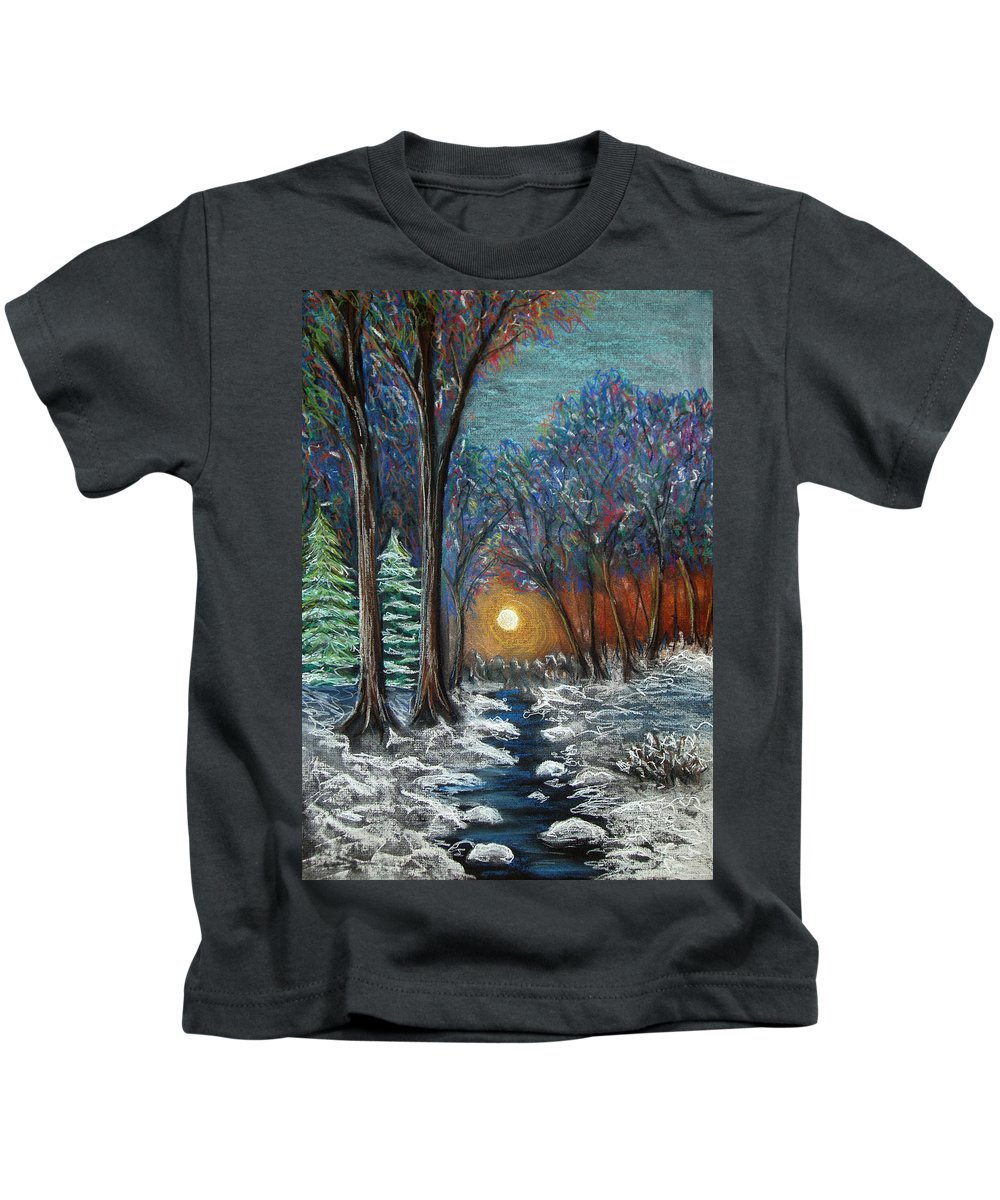 Snow Kids T-Shirt featuring the pastel First Snow by Nancy Mueller