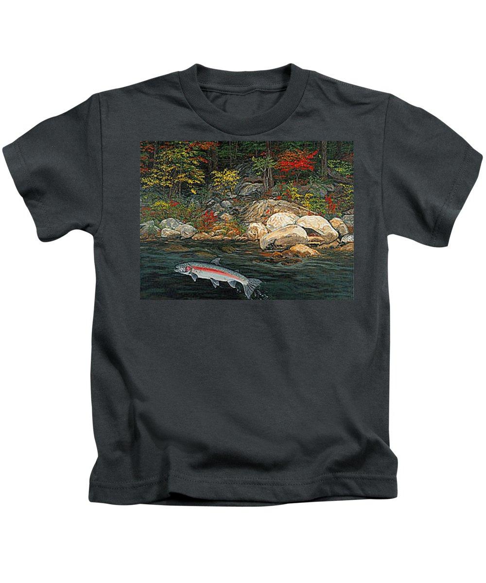 Art Kids T-Shirt featuring the painting Fish Art Jumping Silver Steelhead Trout Art Nature Artwork Giclee Wildlife Underwater Wall Art Work by Baslee Troutman