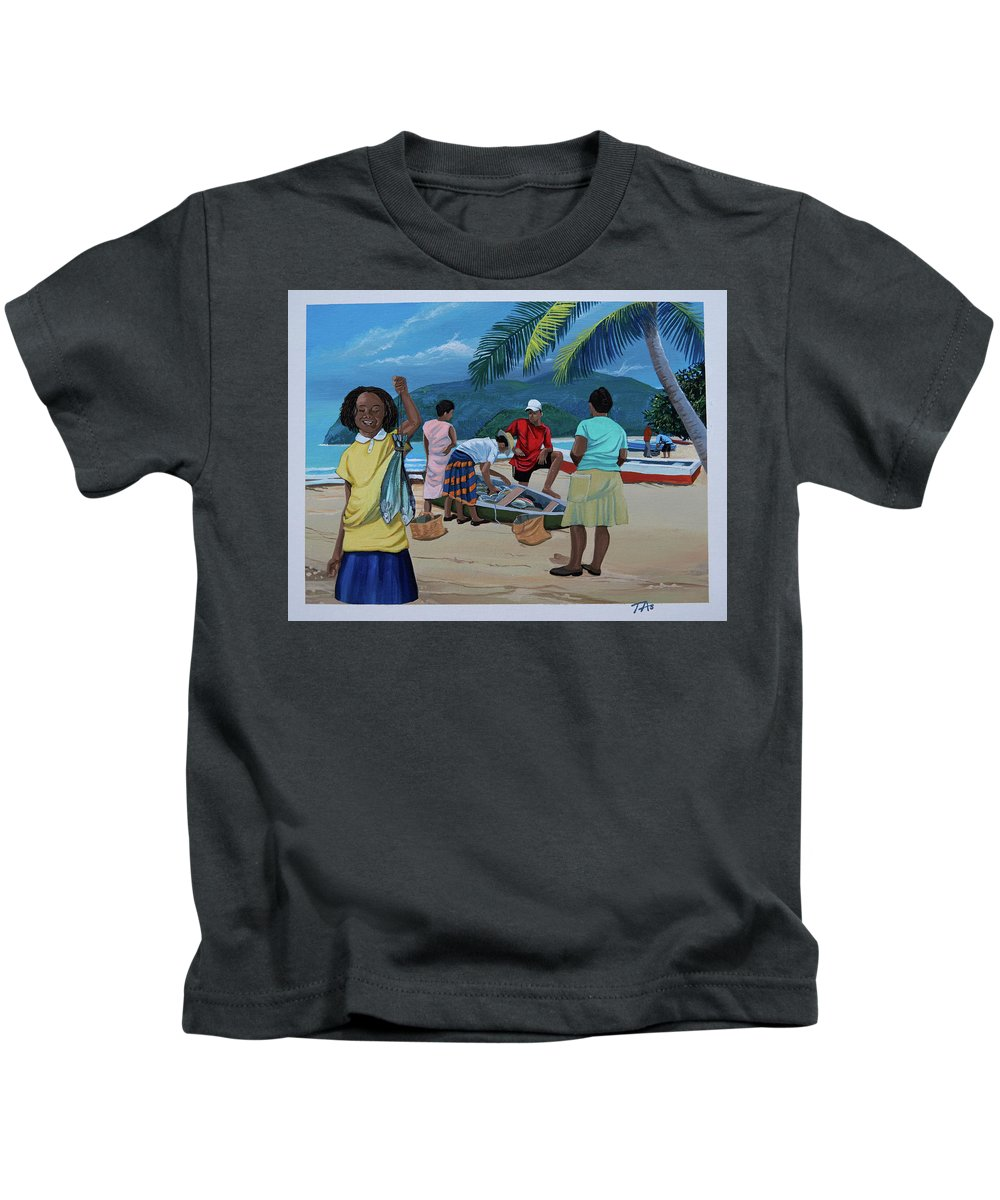 Caribbean Kids T-Shirt featuring the painting Fish For Supper by Gary 'TAS' Thomas