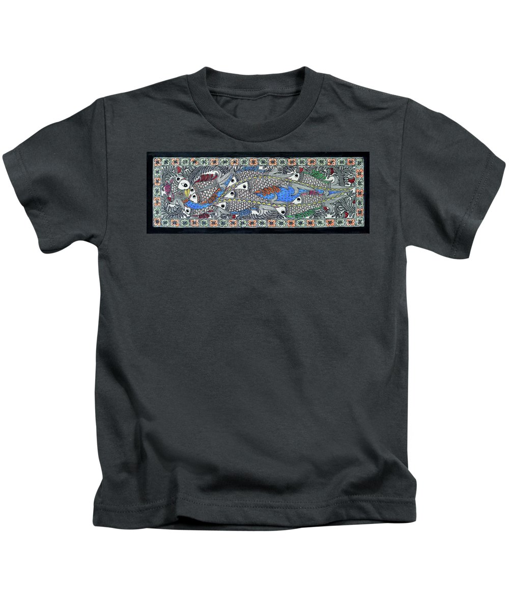Kids T-Shirt featuring the painting Fish Group by Prerna