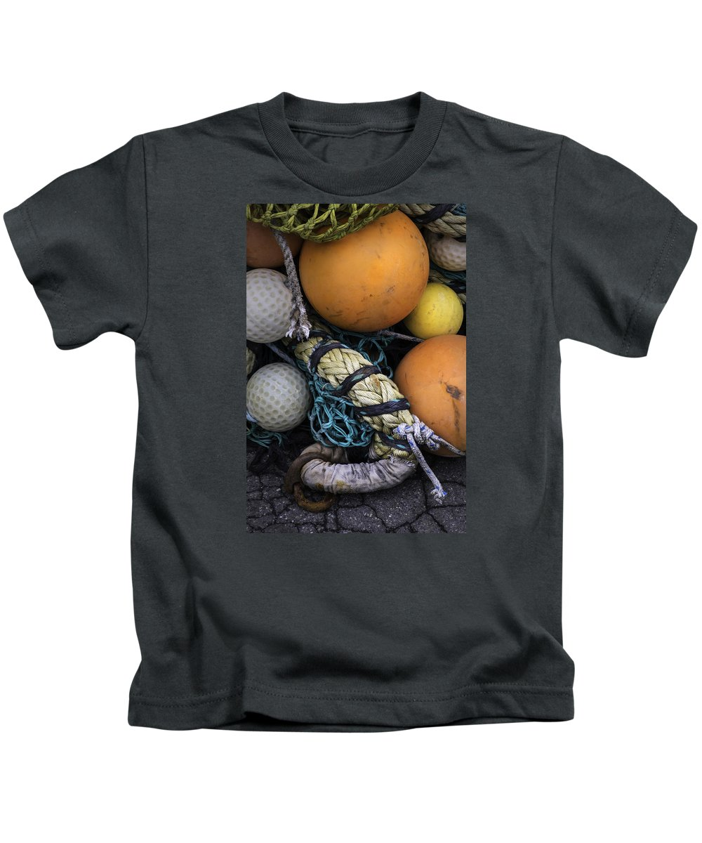 Fish Kids T-Shirt featuring the photograph Fish Netting And Floats 0129 by Bob Neiman