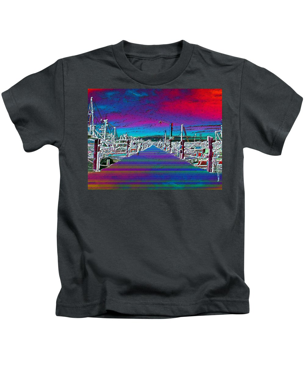 Seattle Kids T-Shirt featuring the photograph Fishermans Terminal Pier by Tim Allen