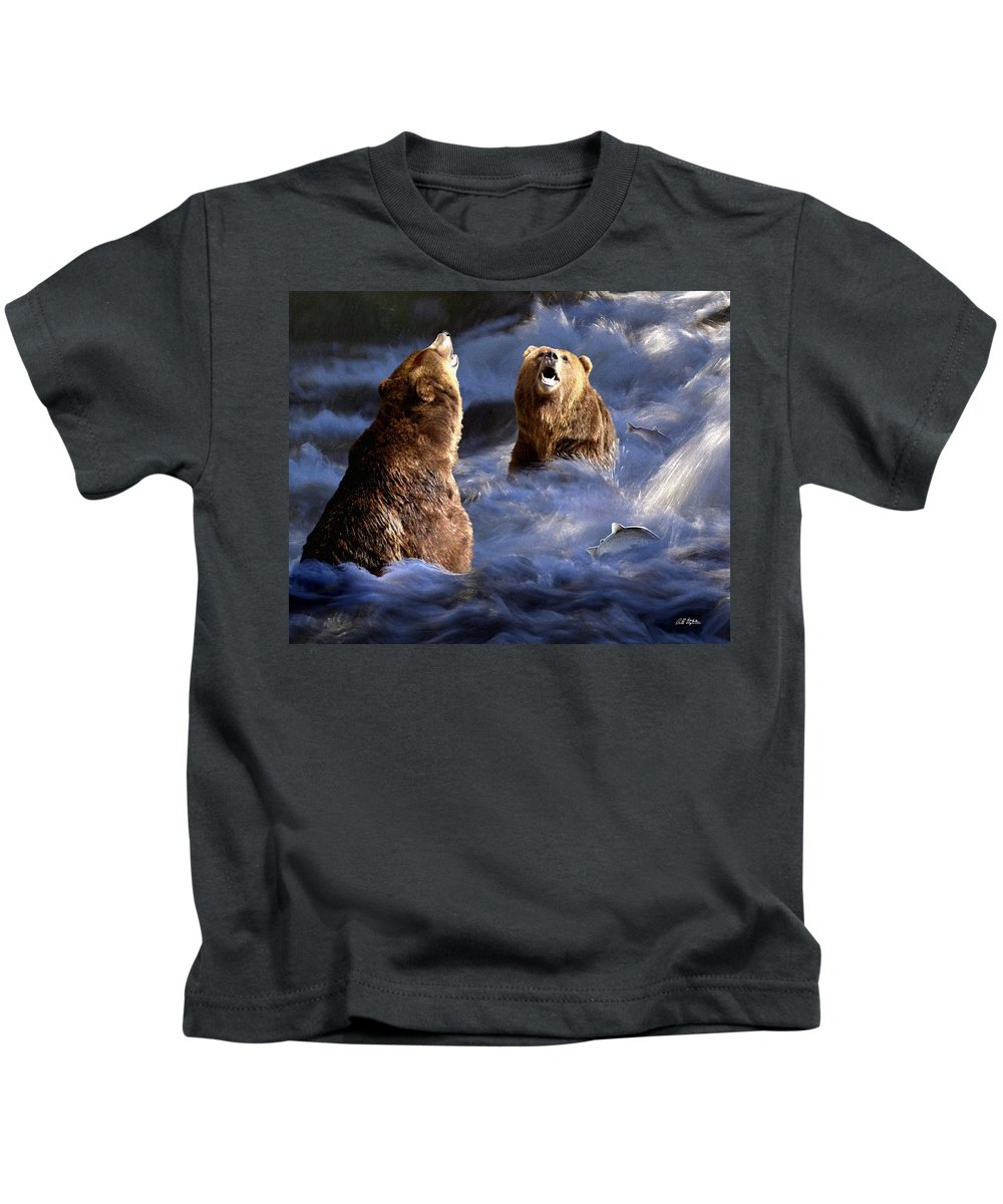 Bear Kids T-Shirt featuring the digital art Fishing Alaska by Bill Stephens