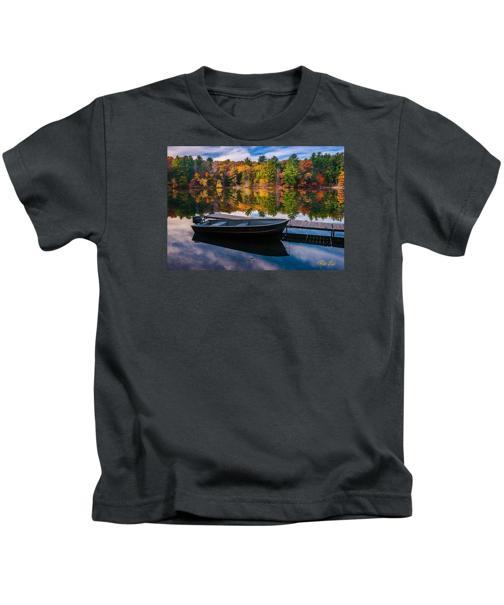 Wisconsin Kids T-Shirt featuring the photograph Fishing Boat On Mirror Lake by Rikk Flohr