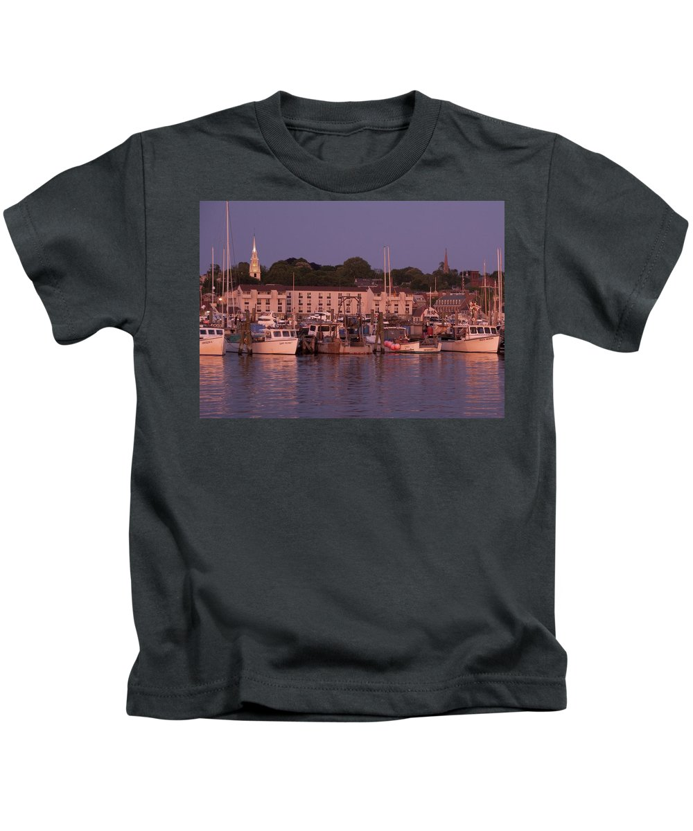 Sunset. Newport Kids T-Shirt featuring the photograph Fishing Boats by Steven Natanson
