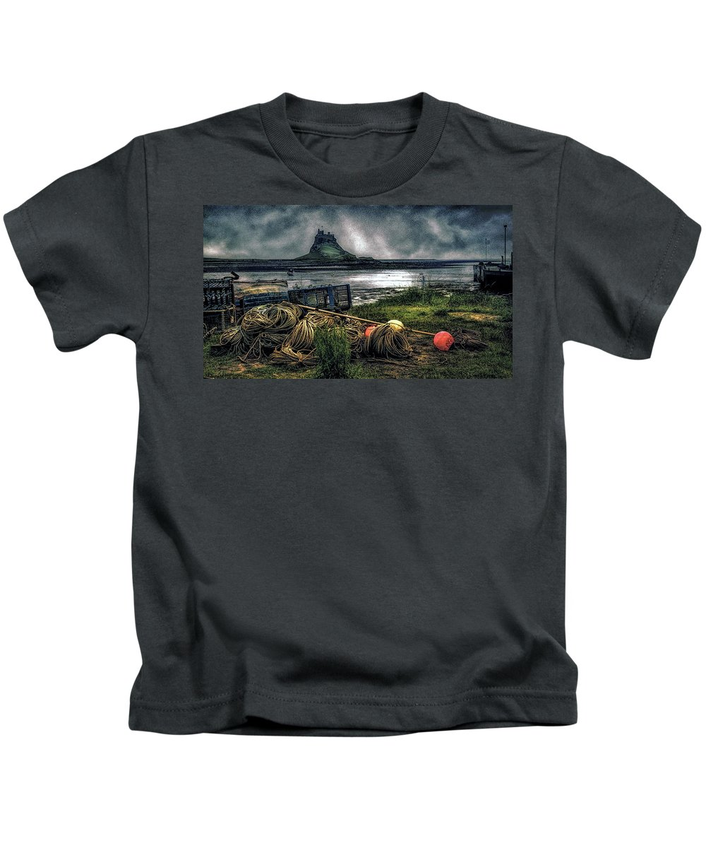 Fishing Gear Kids T-Shirt featuring the photograph Fishing Gear At Lindisfarne. by Brian Tarr