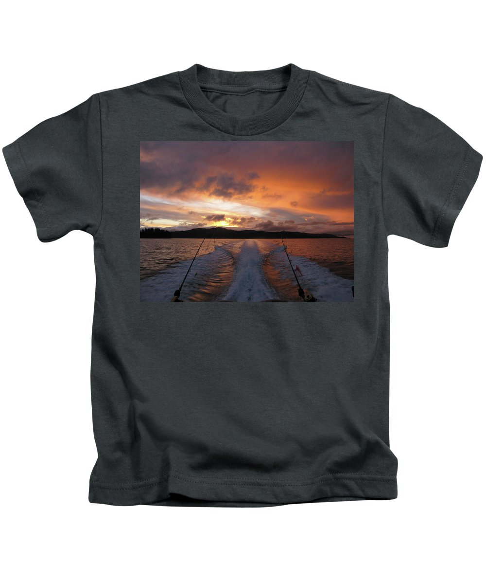 Sunrise Kids T-Shirt featuring the photograph Fishing In The Sun by Monte Arnold