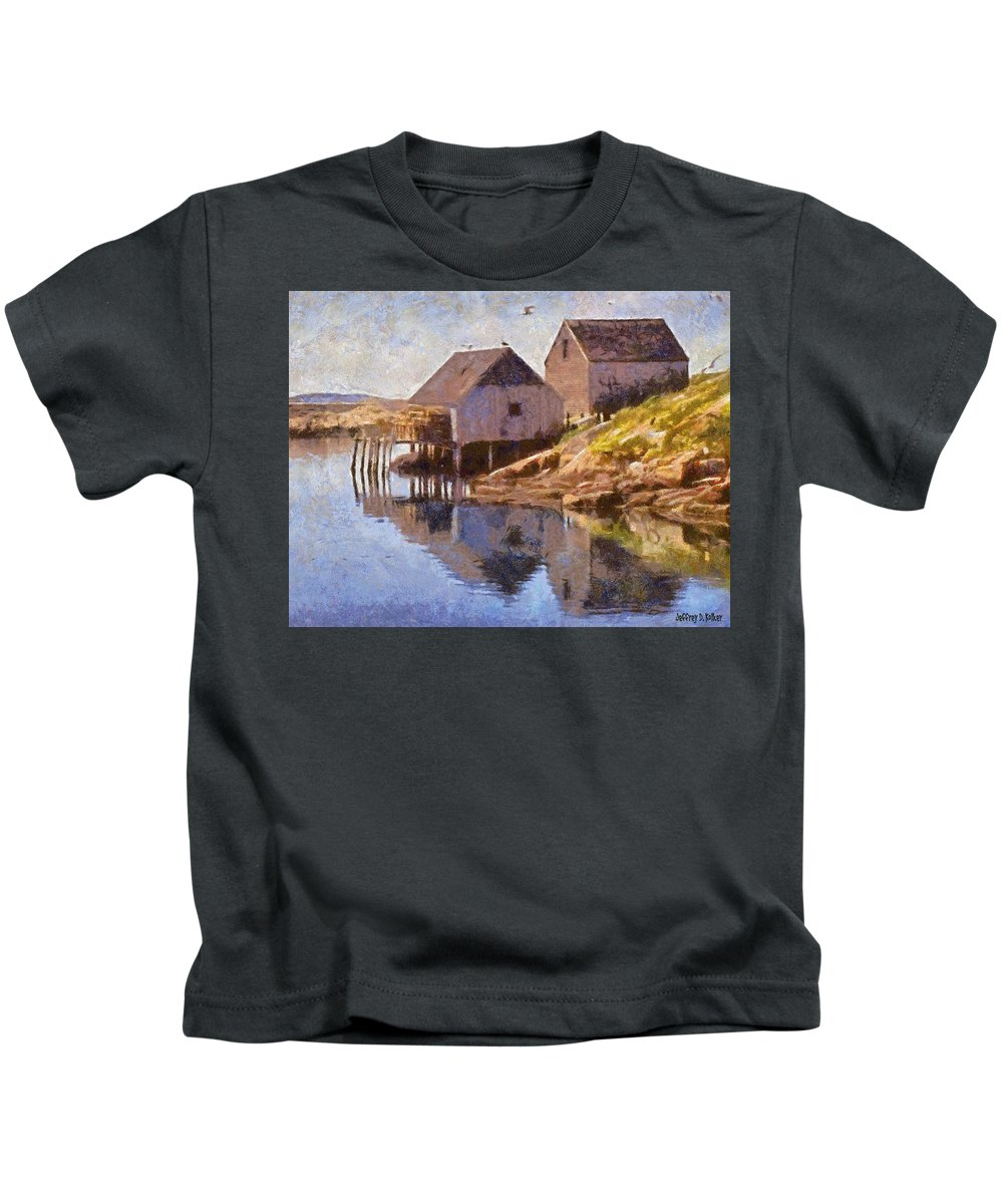 Canadian Kids T-Shirt featuring the painting Fishing Wharf by Jeffrey Kolker