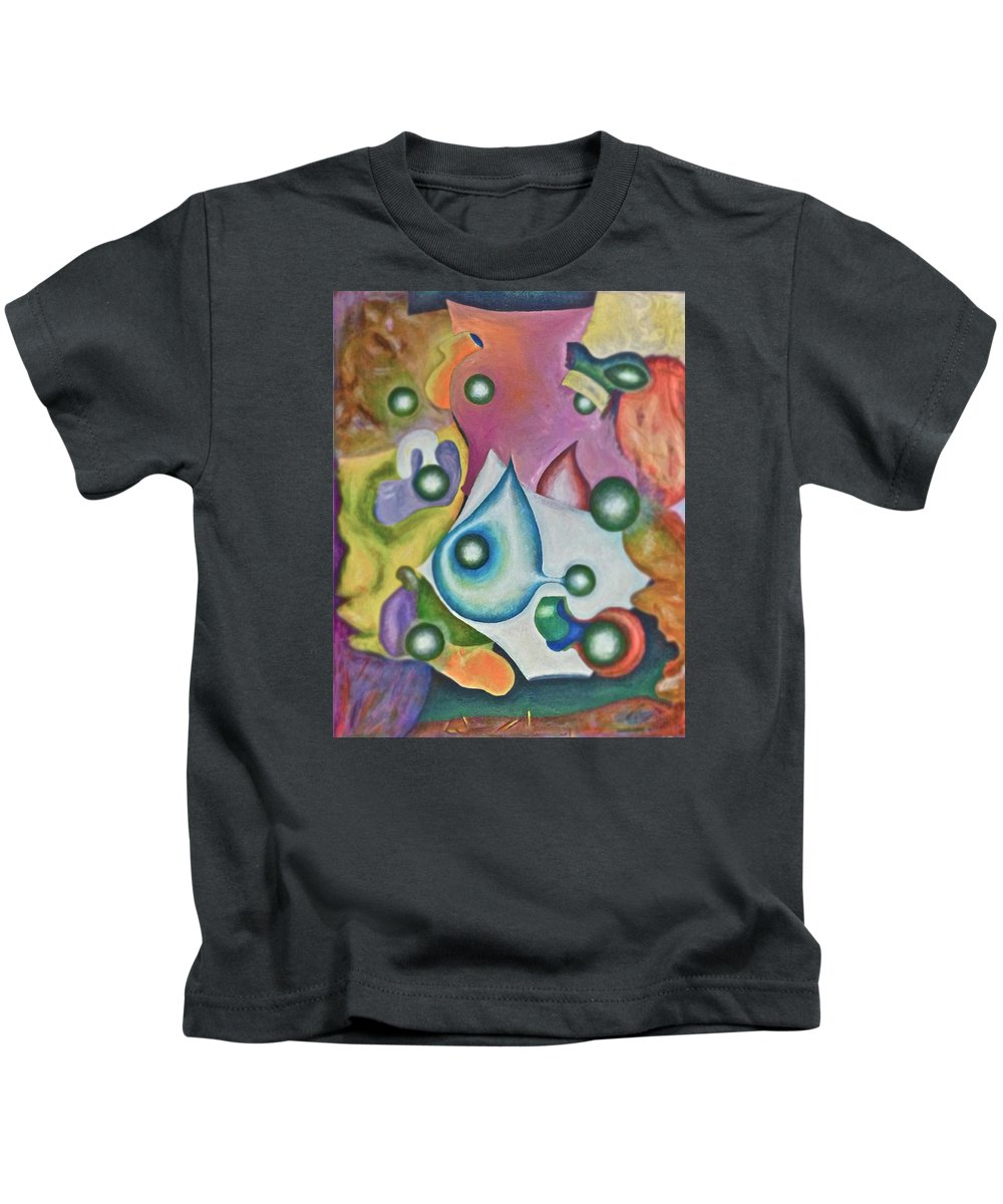 Abstract Kids T-Shirt featuring the painting Five Faces by Jerry White