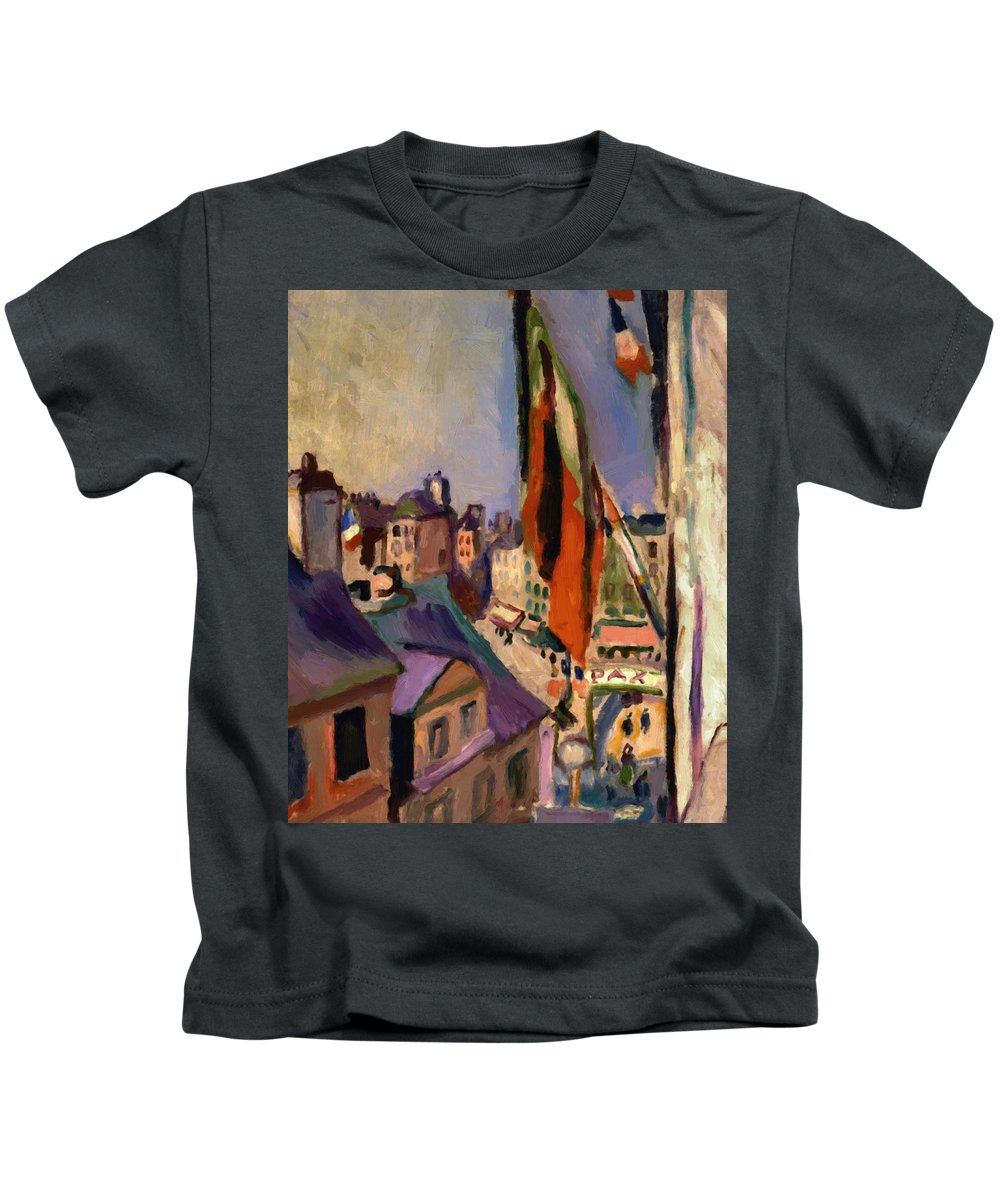 Flag Kids T-Shirt featuring the painting Flag Decorated Street 1906 by Renoir PierreAuguste