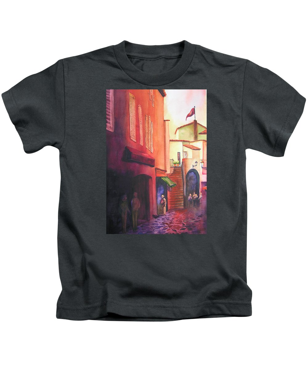 Europe Kids T-Shirt featuring the painting Flag Over St. Tropez by Karen Stark