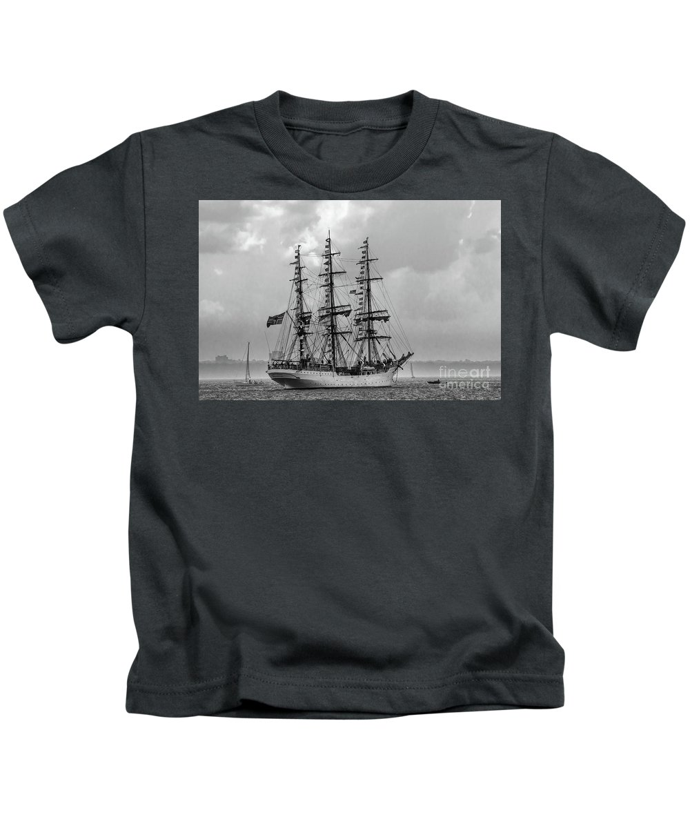 Tall Ship Kids T-Shirt featuring the photograph Flags A Flying by Wayne Heim