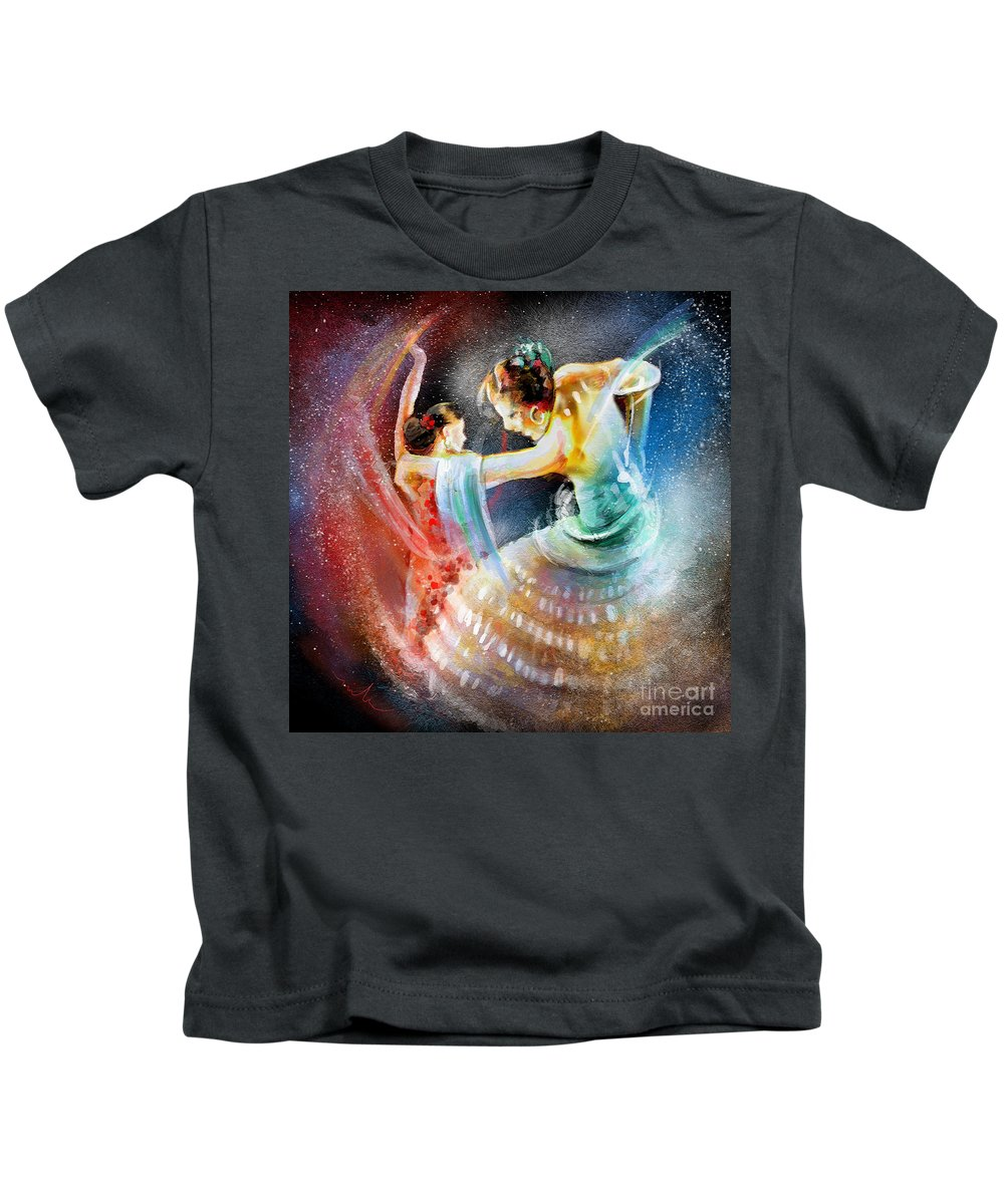Flamenco Kids T-Shirt featuring the painting Flamencoscape 06 by Miki De Goodaboom