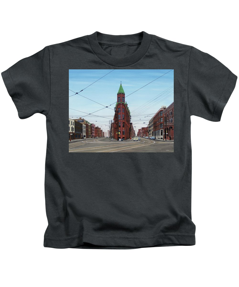 Streetscapes Kids T-Shirt featuring the painting Flatiron Building 1955 by Kenneth M Kirsch