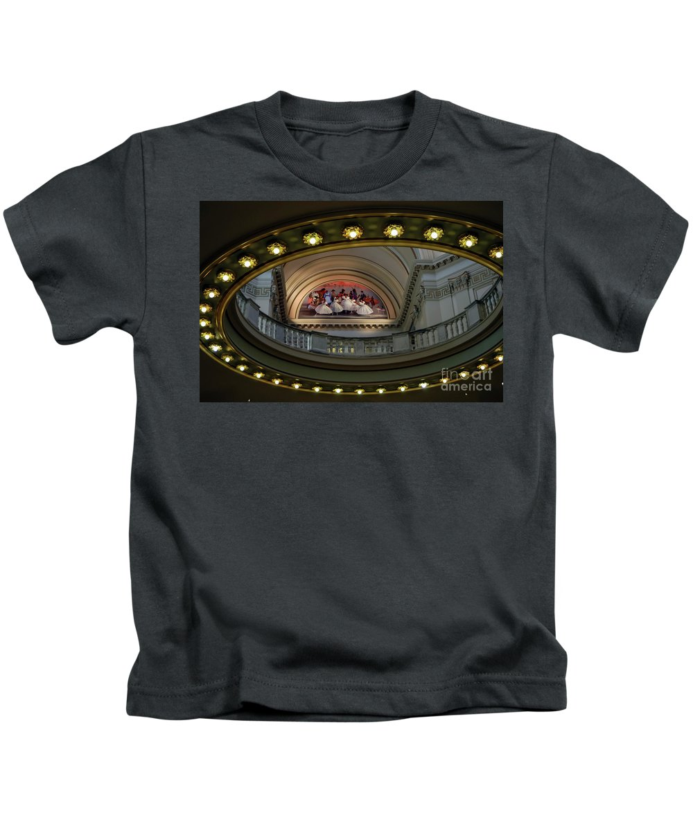 Oklahoma City Oklahoma Capitol Building Interior Architecture Flight Of Spirit Mike Larsen Painting Paintings Art Artwork Odds And Ends Kids T-Shirt featuring the photograph Flight Of Spirit by Bob Phillips