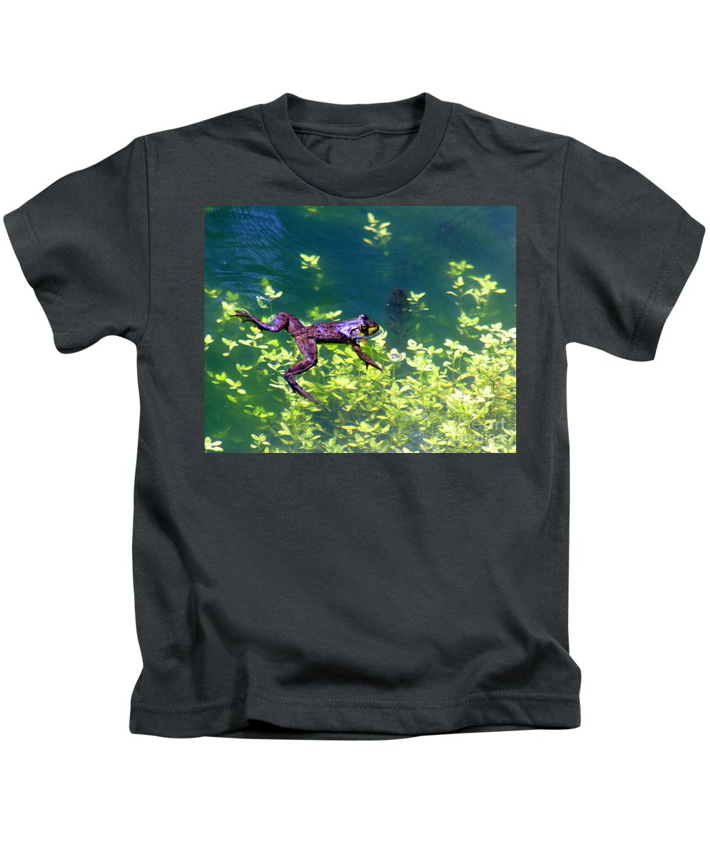 Frog Kids T-Shirt featuring the photograph Floating Frog by Nick Gustafson