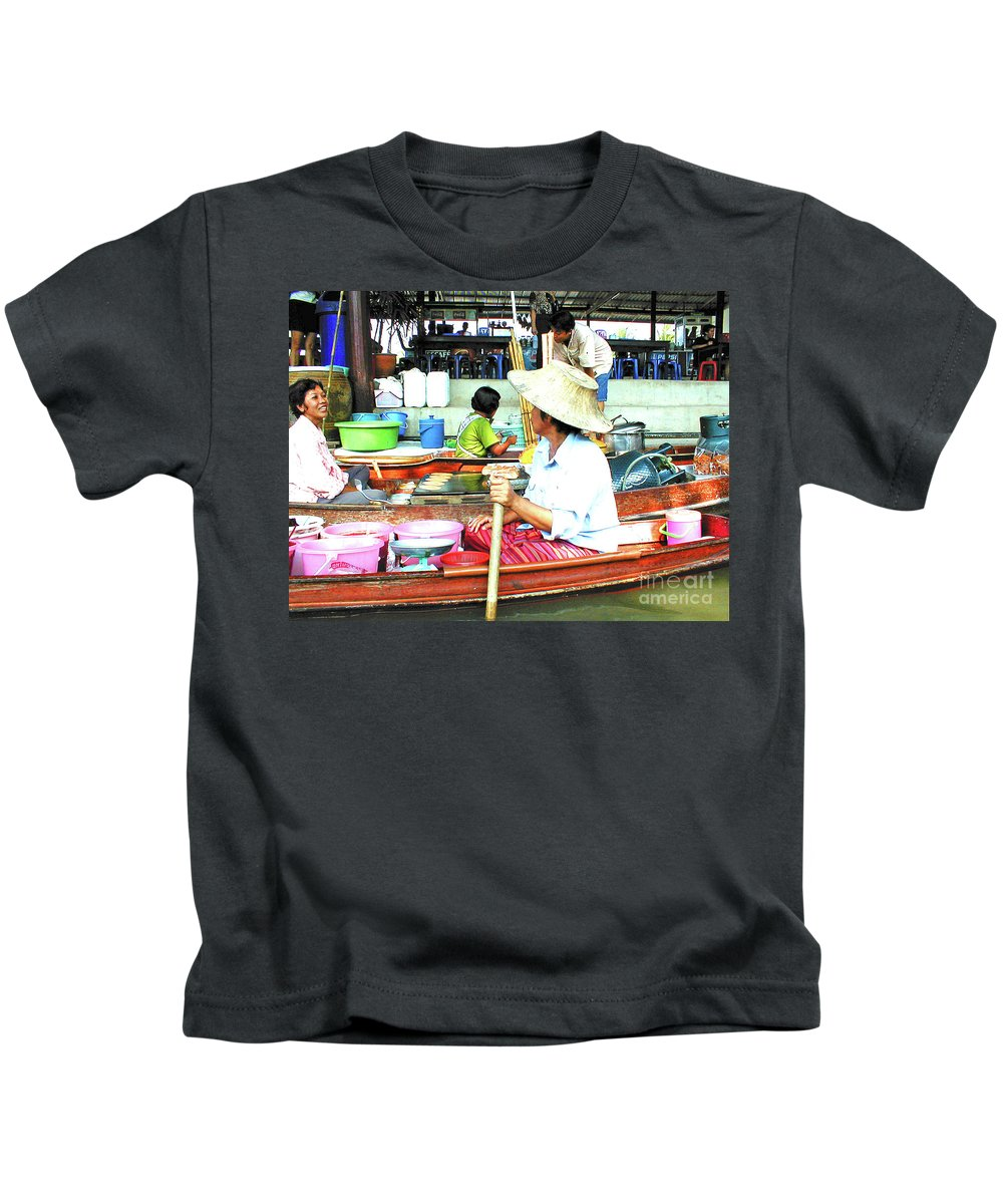 Market Kids T-Shirt featuring the photograph Floating Market Thailand by Eunice Warfel